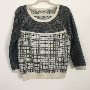 Loft Wool Grey and White Pullover Sweater